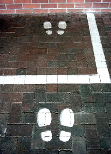 Footprints painted in front of a cash till to guide users