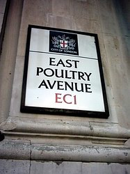 East Poultry Avenue, EC1, sign