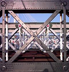 Latticework of metal girders on the Hungerford railway bridge