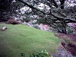 The edge of the garden disappears into a steep drop