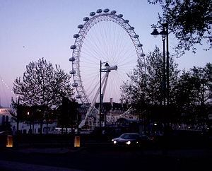 The Embankment and the London Eye at dusk