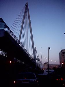 Hungerford footbridge against the evening sky