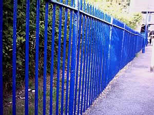 Blue fence at Beaconsfield station