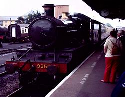 Train pulling into Minehead station