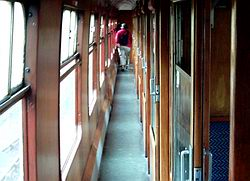 Looking up the corridor in the first class carriage