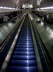The escaltor at Angel Tube, from the bottom