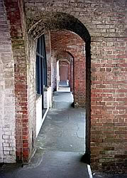 Vista of doorways in the Victorian section of Hurst Castle