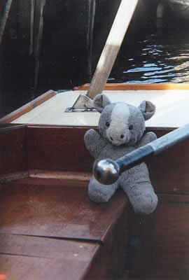 The paw that holds the tiller: Merrick takes a turn at Reedham Ferry moorings.