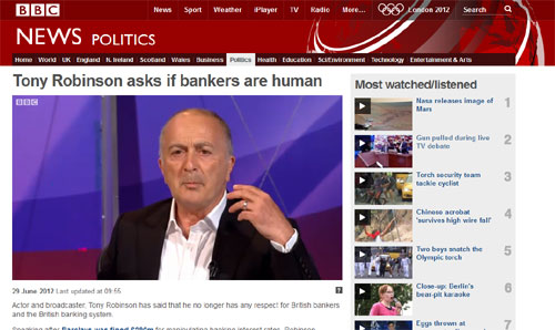 Tony Robinson asks if bankers are human