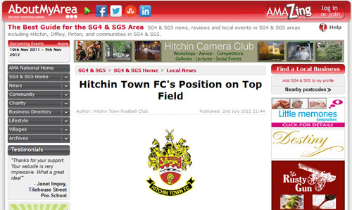 Hitchin Town FC's Position on Top Field